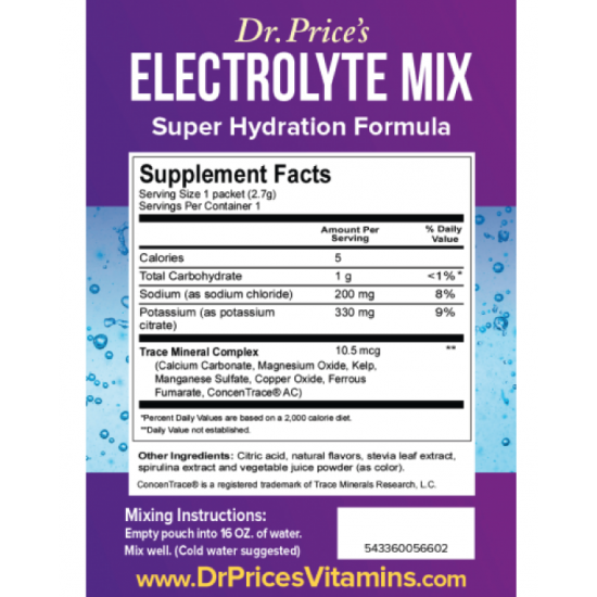 Electrolyte Mix Hydration Formula (30 Packets) (Dr. Price) by Vitanord.eu