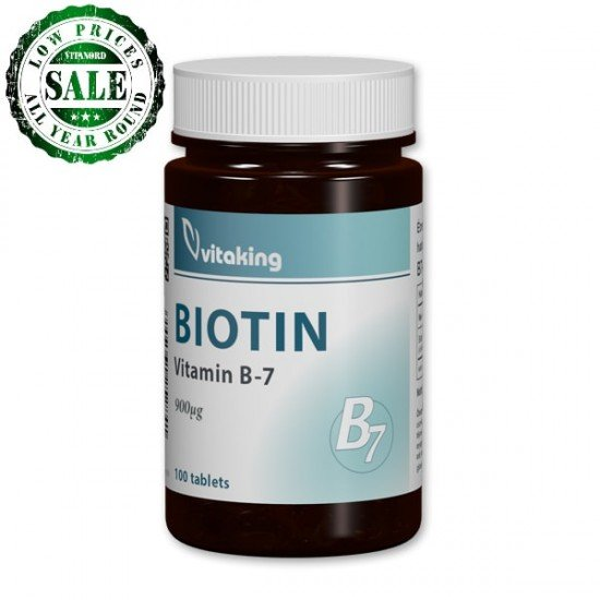 Biotin 900 µg (100 tablets) (B7 vitamin) by Vitanord.eu