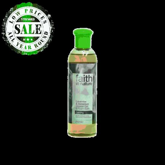 Lavender & Geranium Shower Gel & Foam Bath (250ml) (Faith In Nature) by Vitanord.eu