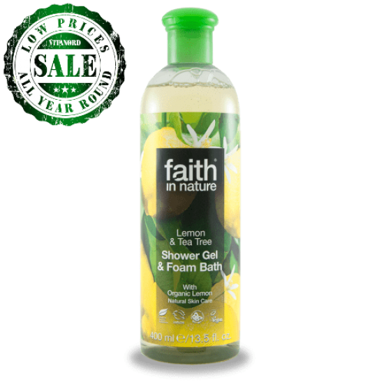 Lemon & Tea Tree Shower Gel & Foam Bath (400ml) (Faith In Nature) by Vitanord.eu