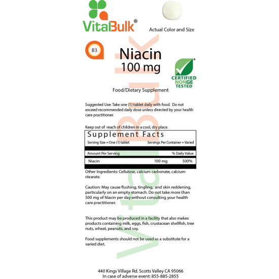 Niacin 100 mg (100 Tablets) VitalBulk (VitalBulk) by Vitanord.eu