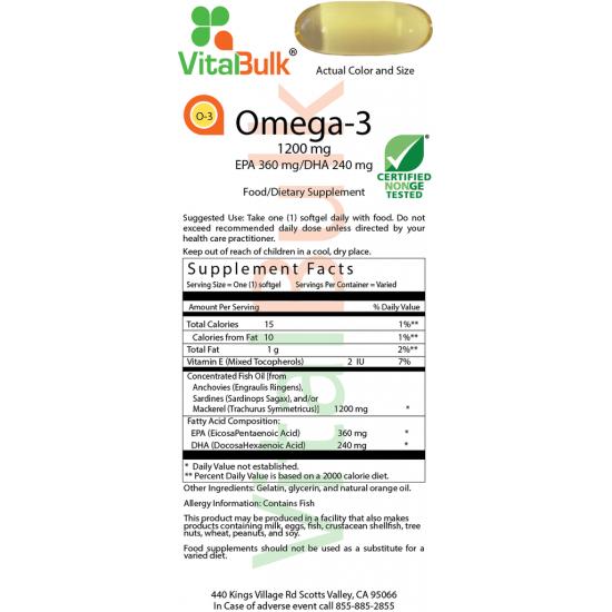 Omega-3 1200mg (100 Softgels) VitalBulk (VitalBulk) by Vitanord.eu