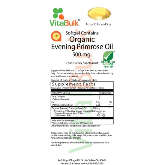 Organic Evening Primrose Oil 500 mg (100 Softgels) VitalBulk (VitalBulk) by Vitanord.eu