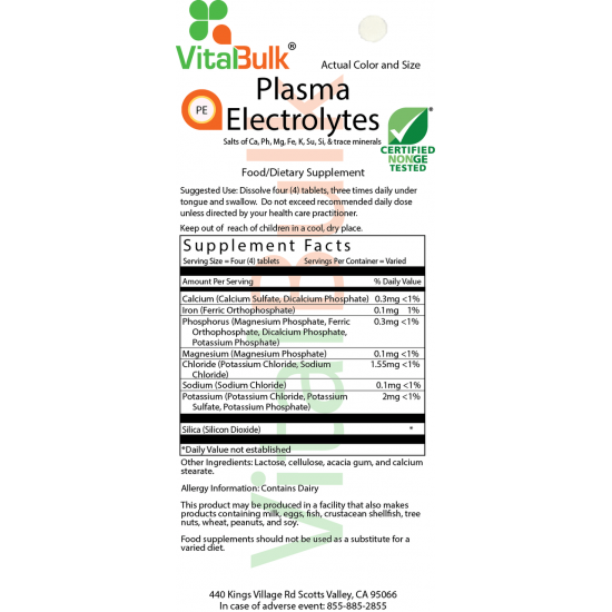 Plasma Electrolytes Tablet (4 Ounce Bag) VitalBulk (VitalBulk) by Vitanord.eu