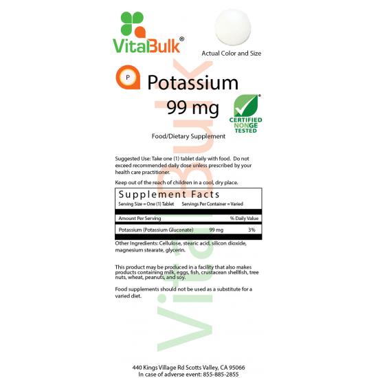 Potassium 99mg (125 Tablet) VitalBulk (VitalBulk) by Vitanord.eu