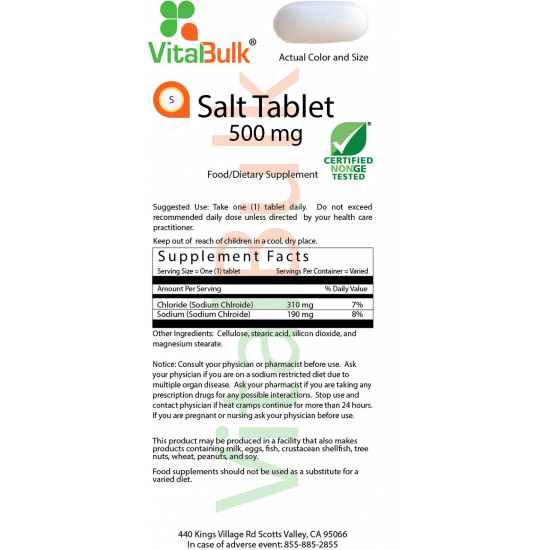 Salt Tablet 500mg (200 tablets) VitalBulk (VitalBulk) by Vitanord.eu