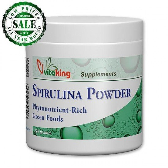 Spirulina algee powder - 220g (Vitaking) by Vitanord.eu