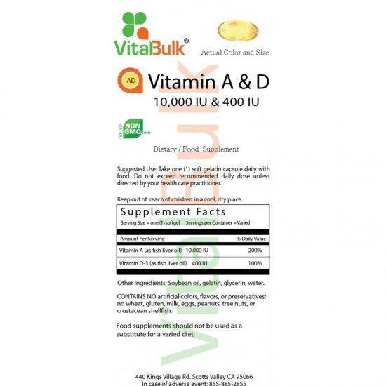 Vitamin A & D 10.000/400IU 100 count VitalBulk (VitalBulk) by Vitanord.eu