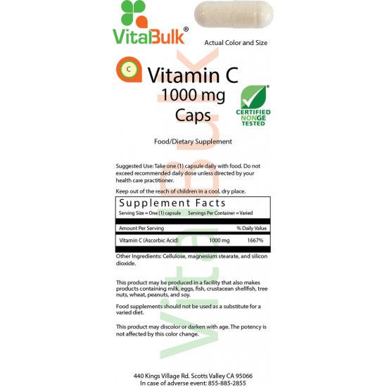 Vitamin C 1000 mg (100 capsules) VitalBulk (VitalBulk) by Vitanord.eu